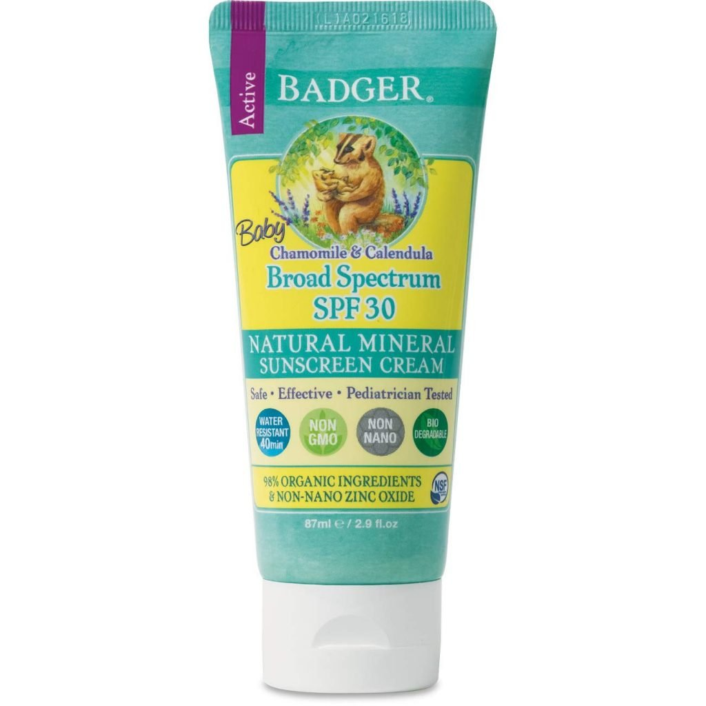 Badger - SPF 30 Baby Sunscreen Cream with Zinc Oxide - Broad Spectrum & Water Resistant, Reef Safe Sunscreen, Natural Mineral Sunscreen with Organic Ingredients