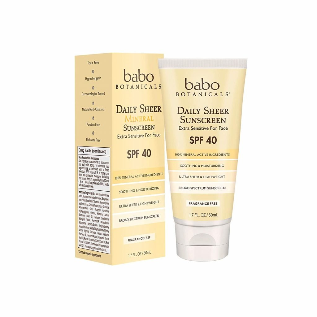 Babo Botanicals Daily Sheer Mineral Face Sunscreen Lotion